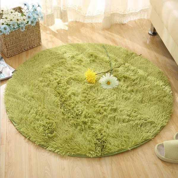 9 Size Option-16 Colors Available Long Hair Round Home Textile Carpet Anti-Skid Decor Home Living Room Shaggy Round Carpet