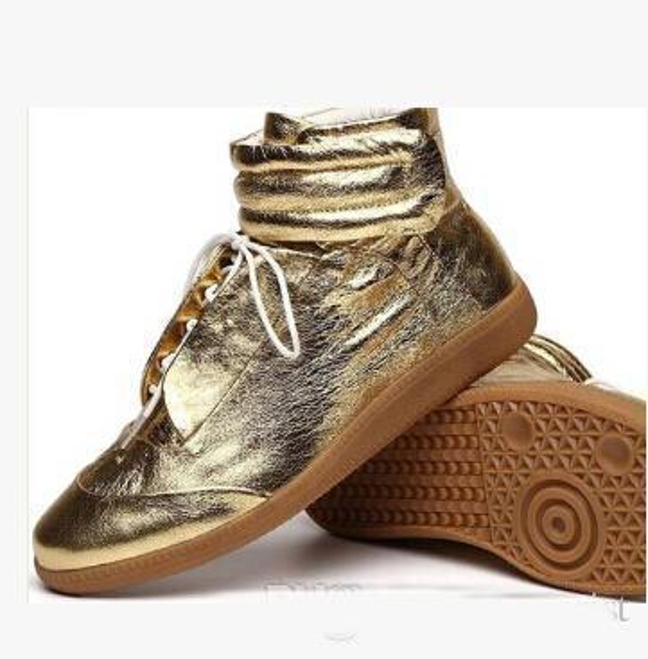 MMM Noir Blanc Rouge Bleu Hihgt Top Sneakers Baskets En Cuir Véritable Hommes et Femmes Sport Casual Chaussures Designer Bottes