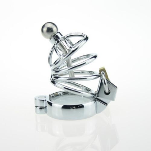 Cintura di castità maschile in acciaio inossidabile con catetere uretrale in metallo Cintura di castità maschile in metallo con catetere uretrale plug sex toys