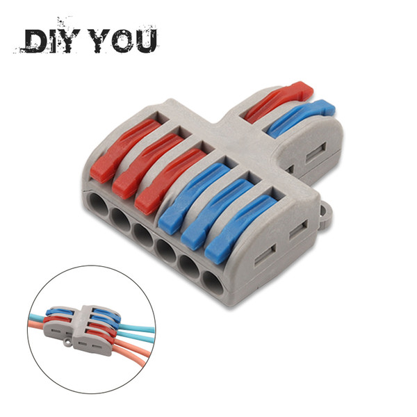 best selling heap Connectors 1pcs lot Wire Connector 2 In 4 6 Out Wire Splitter Terminal SPL-42 62 Compact Wiring Cable Connector Push-in Conductor D...
