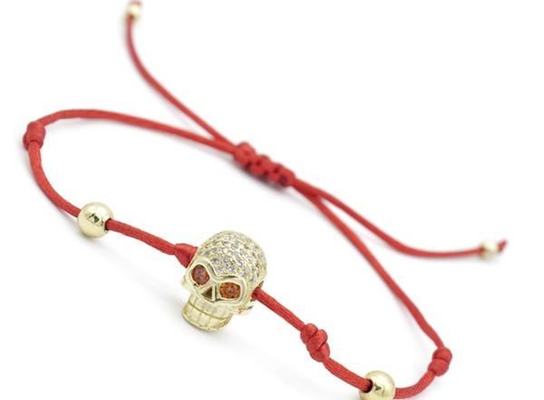 8mm yh54365 skull gold silver cz zircon cubic zirconia bracelet adjusted Macrame Charm Braided Copper Braiding Rope Bangles