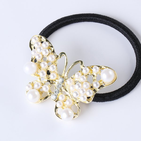 1pc Fashion Women Alloy Butterfly Pearl Crystal Headband Ponytail Elastic Hair Band Hair Rope Accessories