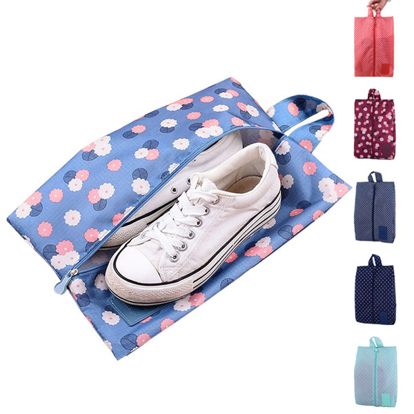 New Convenient Multipattern Waterproof Nylon Portable Travel Shoe Storage Bag Pouch Shoes Sorting Zipper Tote 8 Patterns