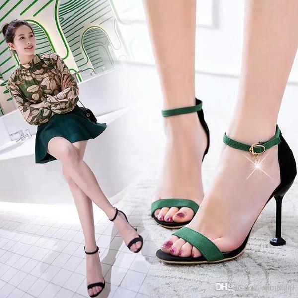 Verão das mulheres 2019 Nova versão Coreana do 7 cm de salto alto sapatos sexy fina seguir net vermelho um fivela sandálias de dedos abertos