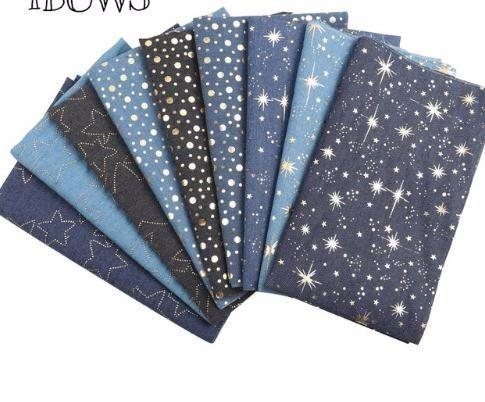 40CM*50CM Soft Cotton Denim Fabric Dots Star Patchwork Material DIY Baby Clothes Skirt Sewing Quilt fabric For Bag
