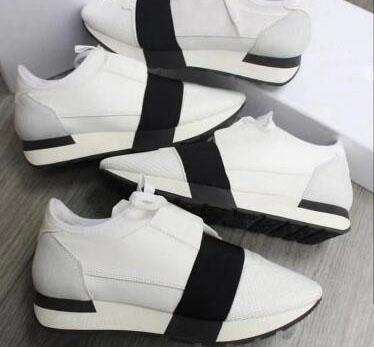 Usine en gros Designer Homme Femme En Cuir Casual Chaussures Respirant Maille Sneaker À L'extérieur Des Entraîneurs Runner Chaussures Élastique bande Sneakers 265
