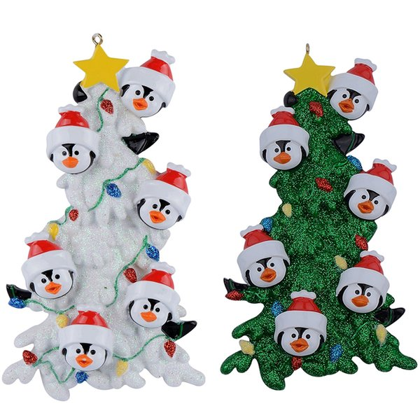 Resin Penguin Family Of 6 White Green Tree Christmas Ornaments With As Personalized Gifts Holiday Home Decor Hand Painted Souvenir