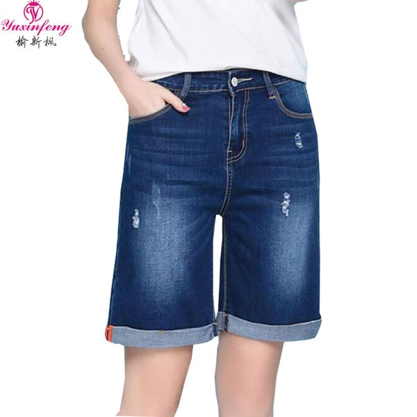 Yuxinfeng Plus Size Summer Denim Shorts Women Mid Waist Stretch Straight Jeans Knee Length Ripped Denim Capris Blue