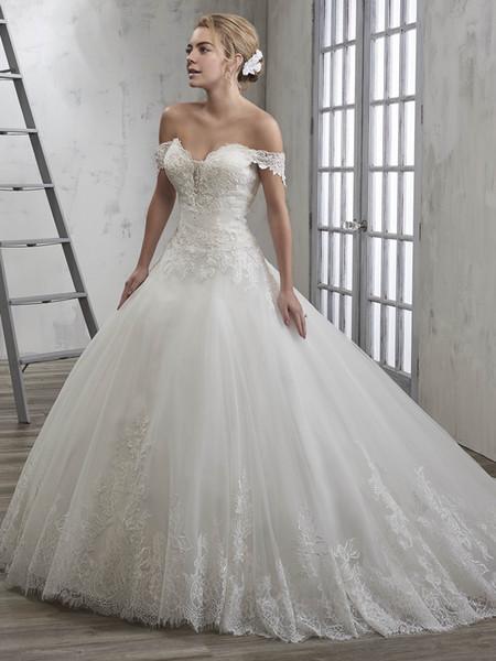 Elegant White Tulle Off Shoulder Applique Beads Buttons A-Line Wedding Dresses Bridal Gowns Bridal Party Dresses Custom Size 2-18 WW129044
