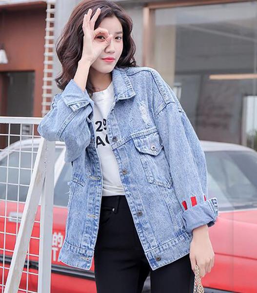 Kadın ilkbahar ve sonbahar Avrupa ve Amerika Birleşik Devletleri yeni moda trendi butik ince kişilik rahat kovboy ceket / S-XL