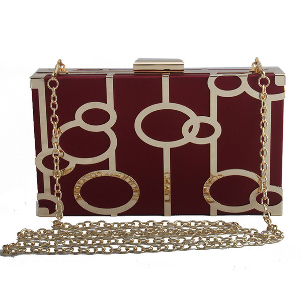Women Cute Satin Box Clutch Purse Metal Geometry Evening Handbags Shoulder Cross-Body Bag for Bride Wedding Party
