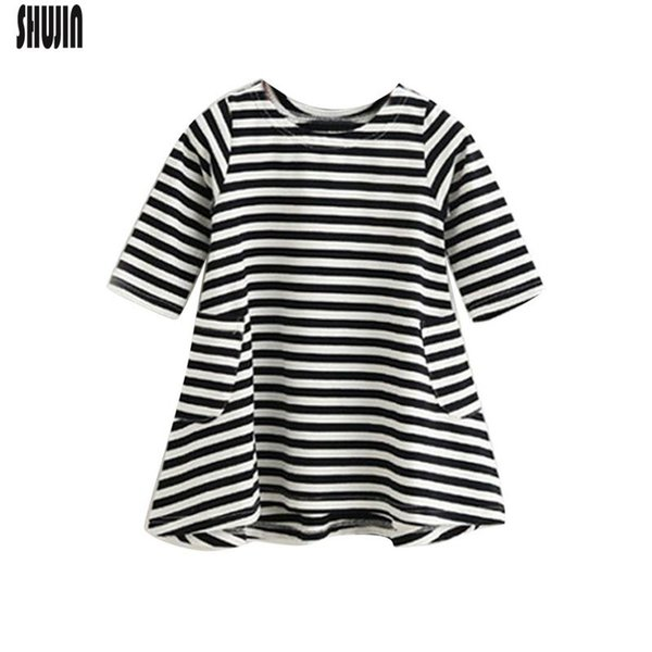 Shujin Fashion Mom And Kids Couple Stripe Family Matching Outfits Baby Girls Clothes Dress Mother Daughter Dress Clothing