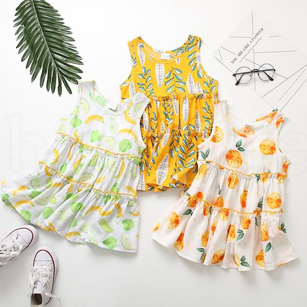 Çocuk Kız Çiçek elbise Pamuk Çiçek Baskı Çocuk Yaz kolsuz Plaj yelek elbise 17 tasarım KKA6903