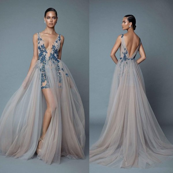 2019 Berta Evening Dresses With Overskirts Plunging V Neck Backless Prom Dress With Appliqued Beaded Party Dresses robes de soirée