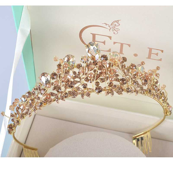 top popular New Rhinestone pearl design bridal crown handmade champagne tiara headband crystal diadem women wedding party hair accessories 2021