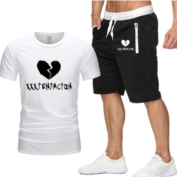 New Men Sets t shirt+shorts men Brand clothing Xxxtentacion Harajuku tracksuit Fashion Casual Tshirts Workout Fitness Streetwear P3