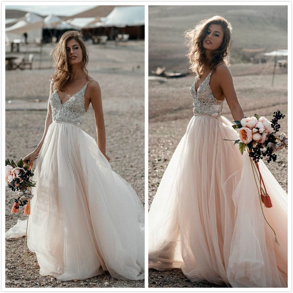 reliable quality outlet store sale retail prices Discount Crystals Lace 2019 Summer Beach Wedding Dresses Spaghetti A Line  Tulle Sexy Bridal Dresses Cheap Elegant Wedding Gowns Simple Gown Styles Of  ...