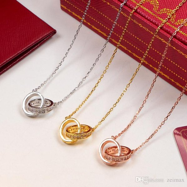Circle Pendant with Single row CZ diamond Rose Gold Silver Color Necklace for Women Vintage Collar Costume Jewelry with original box set