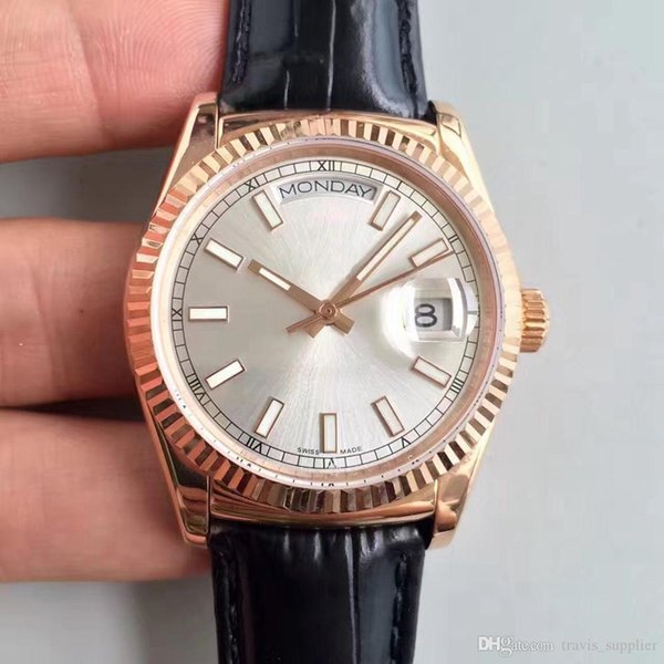 2019 vente chaude automatique mécanique mens montres série 118135-L (FC) 36mm cadran blanc bracelet en cuir noir boucle originale hommes regarder navire libre