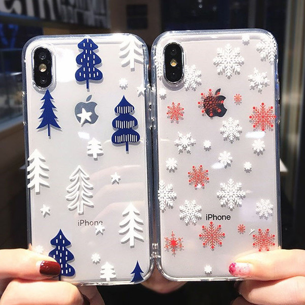 Snowflake & Tree Christmas Transparent Phone Case For iPhone X XS XR XS Max 8 7 6 6S Plus Soft TPU Cute Back Cover Winter Gift