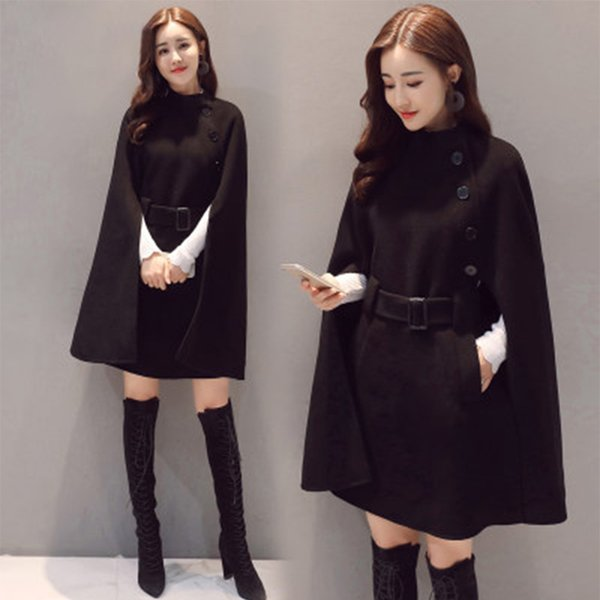 Retro Hepburn Wind Women Woolen Coat Black Long Jackets Loose Female Autumn Winter Fashion Overcoat Ladies Casual Cloak Clothes