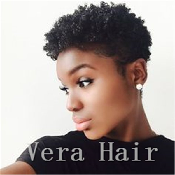Short human hair wigs Brazilian tight curly wig Short Afro Kinky Curly None Lace wigs short curly wig for black women Natural black Wigs