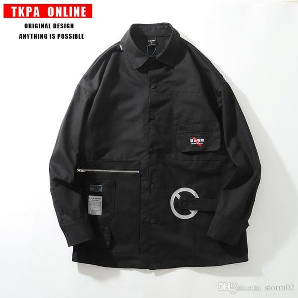 TKPA Осень / Зима 2019 Новый бренд Tide Японский ретро с несколькими карманами большого размера Мужская куртка