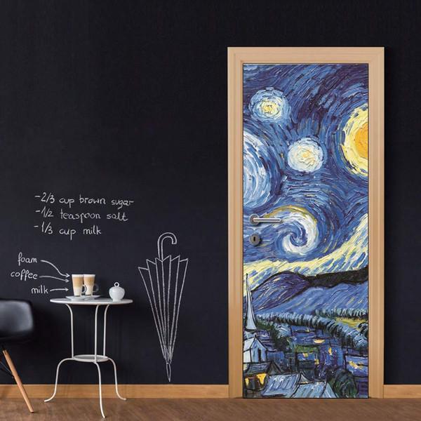DIY Door Sticker Star Sky Painting Wall Sticker Decal Art Decor Vinyl Door Poster Removable Mural Door Wallpaper Kitchen accessories