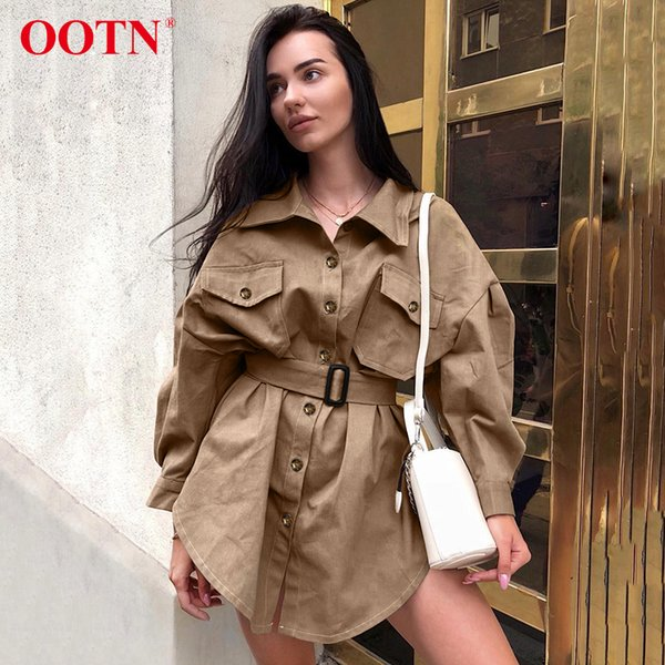 OOTN Long Batwing Sleeve Mini Dress Women Office Lady Shirt Dresses Sashes Vintage Tunic Dress Khaki 2019 New Outerwear Casual