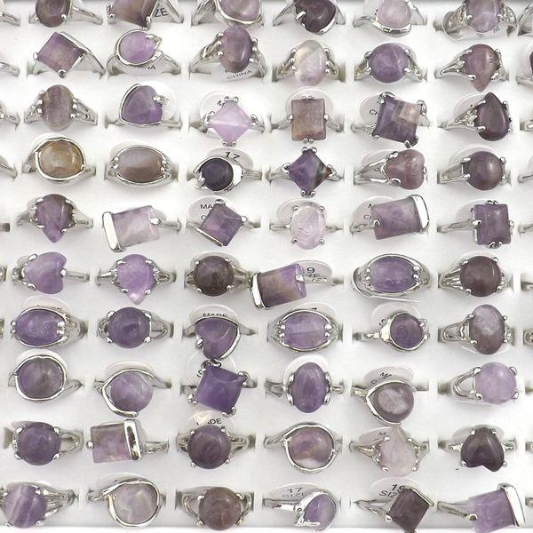 Anéis de pedra ametista natural Anel de jóias de pedras preciosas Bague 50 pcs Presente do Dia dos Namorados