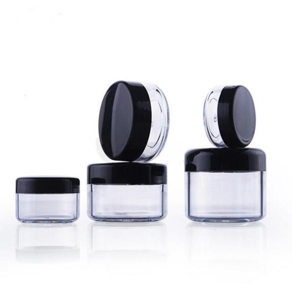 1000Pcs/Lot 5G Cream Jar, black Empty Plastic Cosmetic Container, 5ml clear jar, Small Sample case