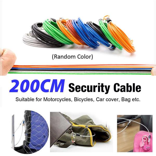 Bike Bicycle Cable Lock 200cm Security Loop Cable Lock Guard U-Lock cable
