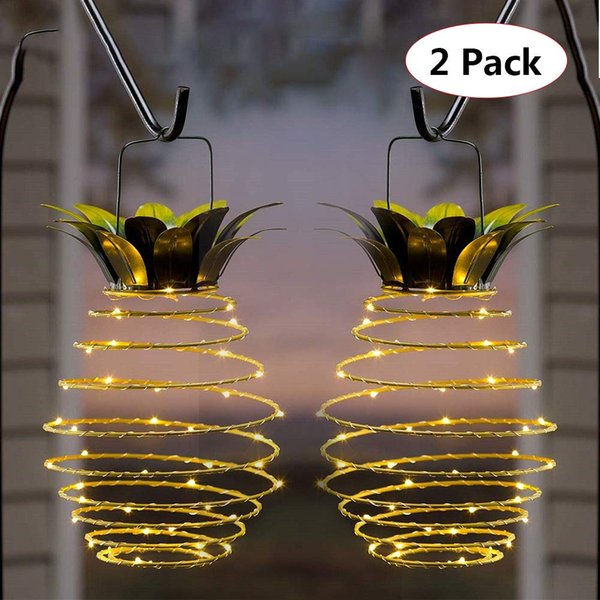 2019 Led Pineapple Light Decor Lights Pineapple Outdoor Hanging Solar Lanterns Waterproof For Garden Corridor Courtyard 2 Pack Warm White From
