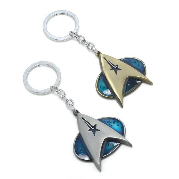 Hot Star Star Trek Pingente Comunicador Darkness Starfleet Comando Surounding chaveiro para os fãs Keychain homens Presente Frete grátis