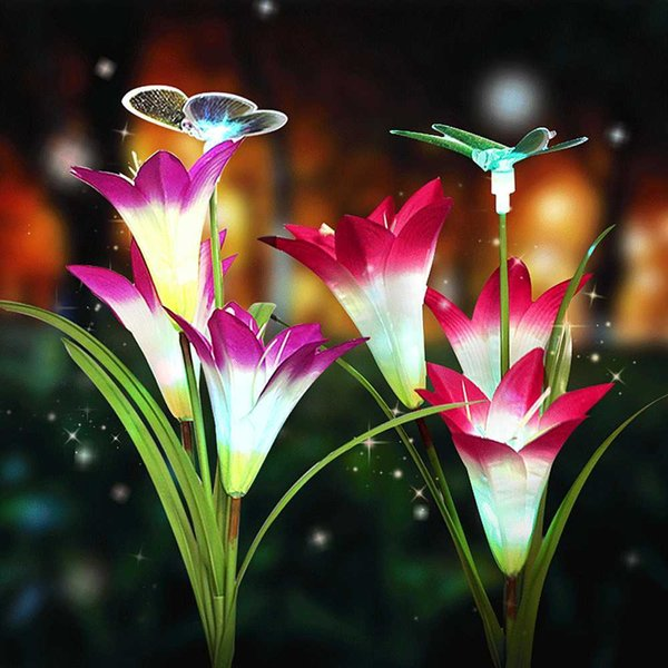 Solar Powered Garden Light Impermeable Al Aire Libre 7 Cambio de Color Iluminación Flor de Mariposa Led Luz de Hadas Lámpara de Césped Decoración de Navidad T190708