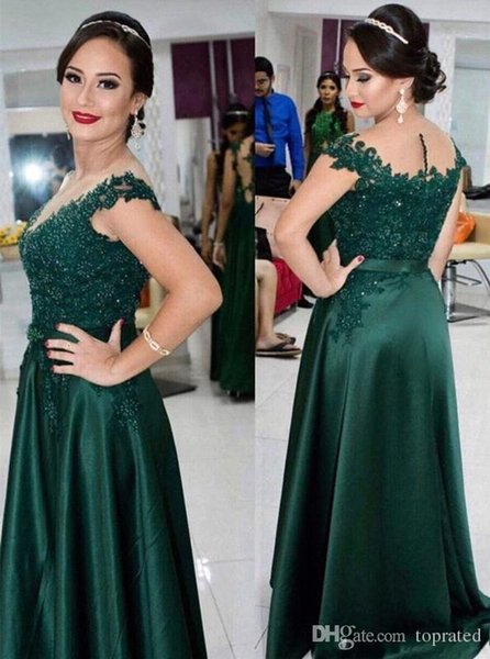 Sexy Dark Green Lace Beads Evening Dresses A-Line Mother of the Bride Groom Dresses Short Sleeve Ruched Formal Evening Dress Party Gown
