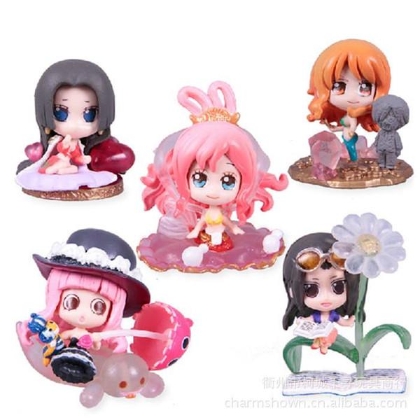 5pcs Nami Boa Hancock Robin Shirahoshi Perona One Piece Anime Collectible Action Figures PVC Collection toys for christmas gift