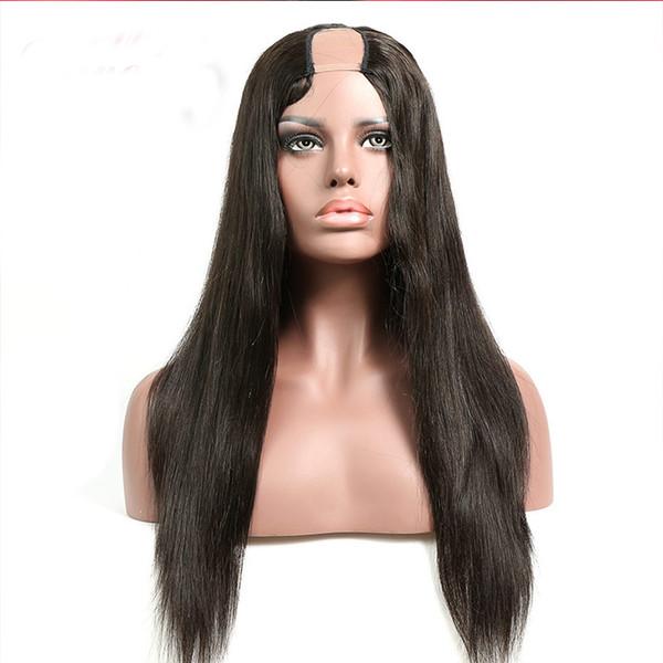 2 * 4 Moyen Ouverture U Partie Perruques cheveux humains Silky droite Raie des cheveux Vierge du Brésil U perruques pour les femmes noires 9A