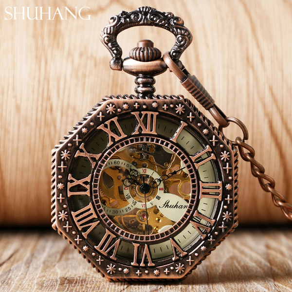 lock pendant SHUHANG Rose Cooper Mechanical Hand Winding Pocket Watch Octagon Shape Roman Number Skeleton Clock Pendant with Chain Best G...