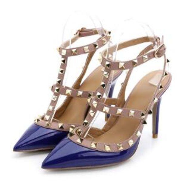 Sıcak satış yeni moda tasarımcısı bayan perçin topuklu, rugan perçin sandalet, kadın tırnak askısı elbise ayakkabı, sevgililer günü topuklu + kutusu