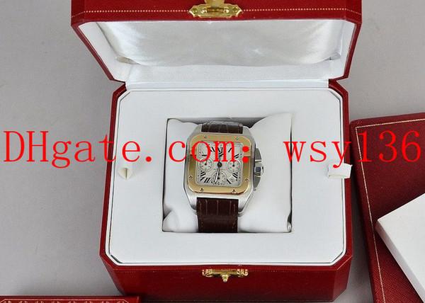 Top-Qualität XL 18 Karat Gold Automatic Machinery Mens Date Watch Herren Sport Armbanduhren Brown Leather Band Box
