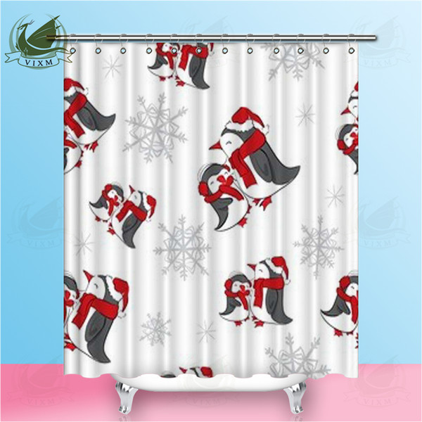 Vixm New Year Christmas With Snowflakes And Penguins Shower CurtainsCartoon Cute Style Waterproof Polyester Fabric Curtains For Home Decor
