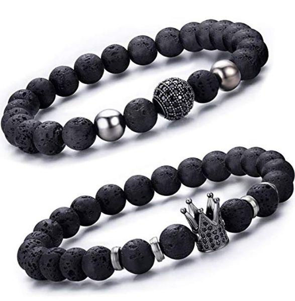 2 Unids / set Negro Lava Stone Crown Bracelet Set de Lujo CZ Pavimentada Pareja Braslet Para Hombres Brazalete Accesorios de Joyería Pulseras hombre