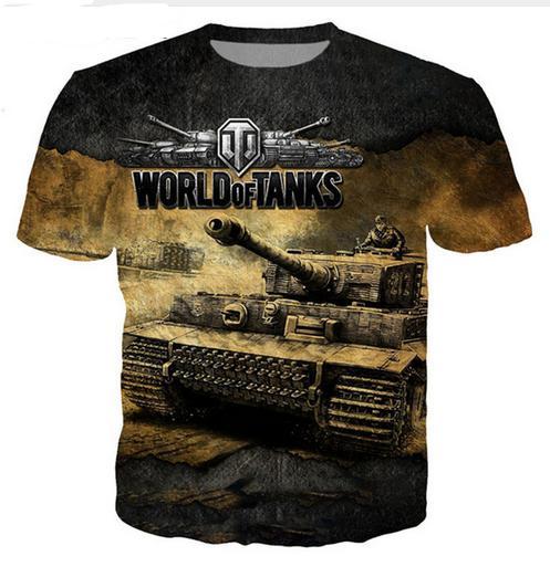 Nouveauté Streetwear Hommes T-shirts Jeu World of Tanks T-shirts drôles Mens Casual O-cou T-shirts Mode Homme Tops Tees Vêtements Harajuku