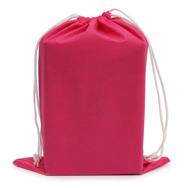 Sac de rangement pour chaussures Housse de rangement pour petit sac avec cordon de serrage Étanche pour chaussures de voyage, Rose rouge