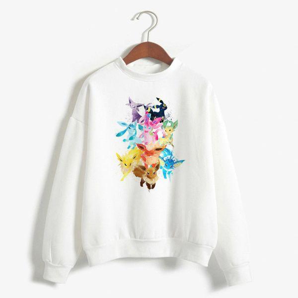 Compre Umbreon Hoodie Mujeres Divertido Anime Cuello Redondo Sudadera De Dibujos Animados Lindo Impreso Kawaii Tumblr Ropa Sudadera Mujer A 432 Del
