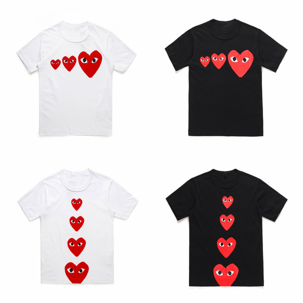 High Quality CDG PLAY Tshirts COMMES Japanese Short-sleeved T-shirt DES GARCONS Heart Emoji OFF Men Women White Christmas Heart Lovers