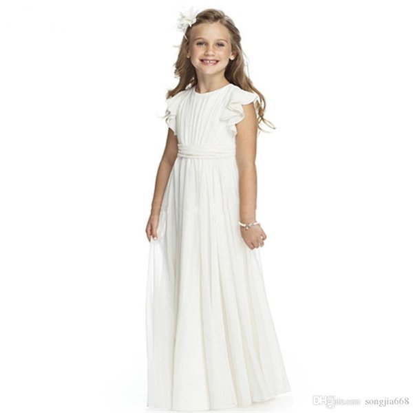 Yeni Çiçek Kız Elbise Düğün İçin Beyaz Fildişi Aplikler A-Line Kısa Kollu O-Boyun İlk Communion Abiye