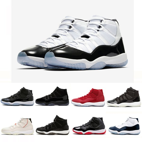 Newest 11XI 11s Concord 45 Mens Basketball Shoes Platinum Tint Cap and Gown Gym Red women men Bred Space Jam Sports Sneakers 36-47