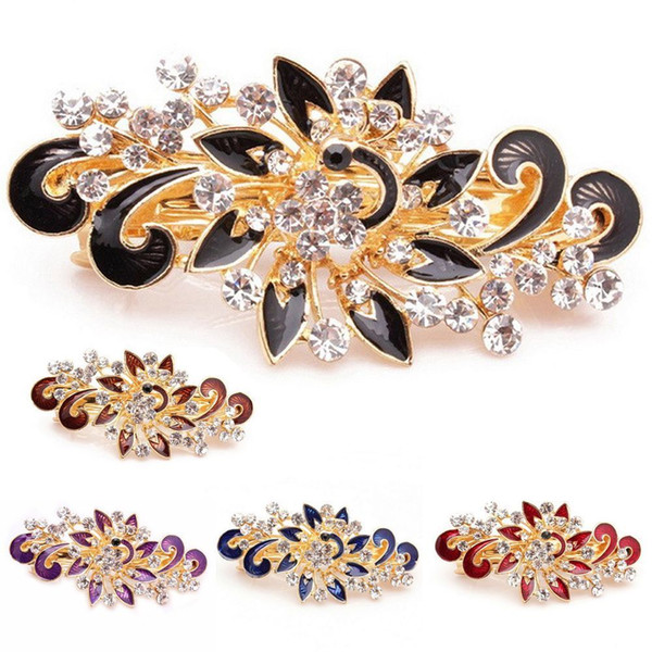 1PC Colorful Fashion Women Girl Cute Shinning Crystal Rhinestones Peacock Hairpin Clip Hair Accessories C19010501